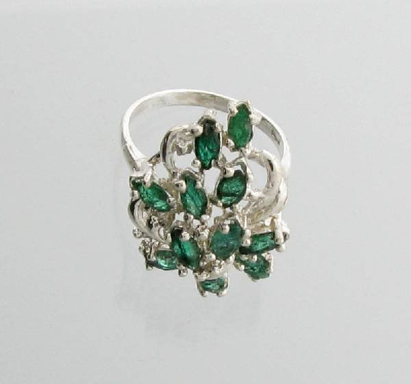 APP: 4.8k 3.14CT Marquise Emerald Sterling Silver Ring