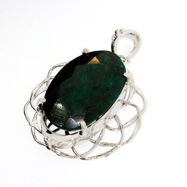 APP: 4.2k 63.30CT Emerald & Sterling Silver Pendant