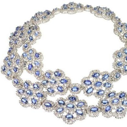 APP: 31k 46CT Sapphire & Over Sterl Silver Necklace