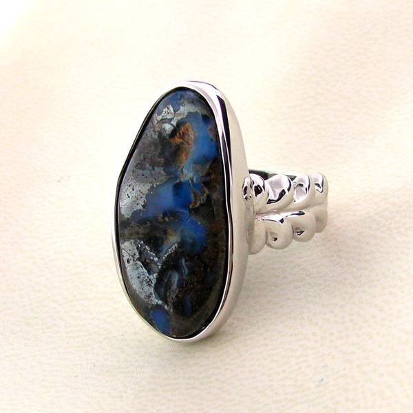 APP: 5.5k 21.49CT Boulder Opal & Sterling Silver Ring