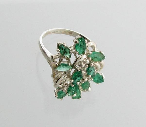 APP: 4.7k 3.11CT Marquise Emerald Sterling Silver Ring