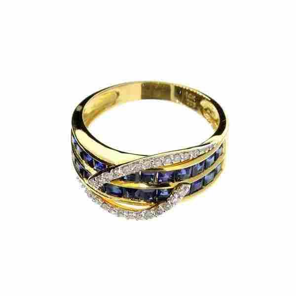 APP: 10k 14kt Gold, 2CT Sapphire Diamond Ring