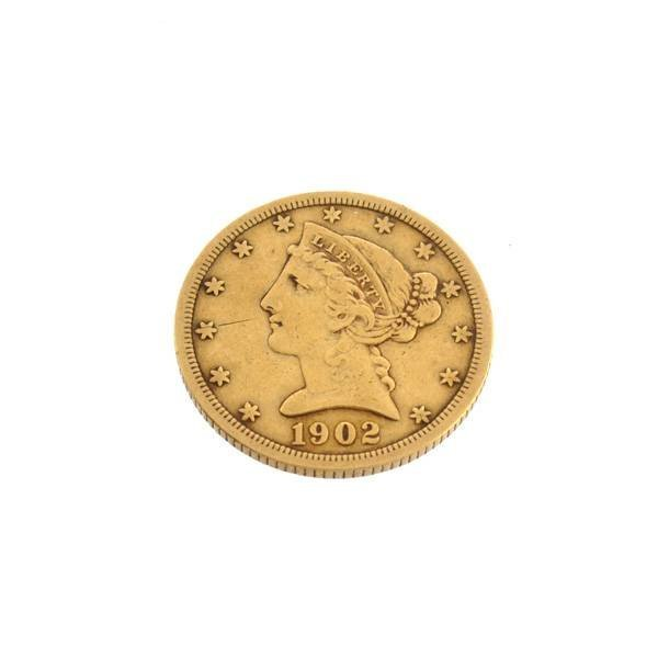 1902-S $5 US Liberty Head Gold coin - Investment