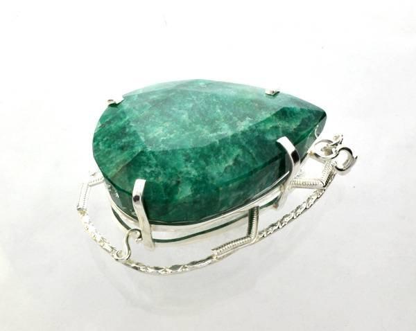 APP: 20k Sebastian 328CT Emerald & Silver Pendant