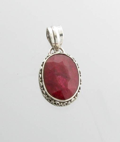 APP: 2k 12CT Oval Cut Ruby & Sterling Silver Pendant