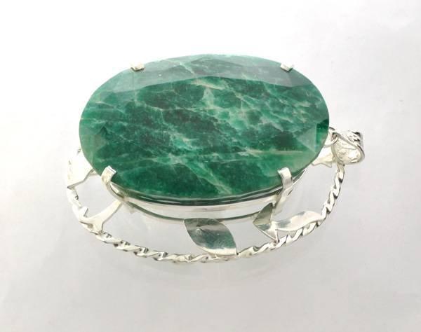 APP: 25k Sebastian 418CT Oval Emerald & Silver Pendant