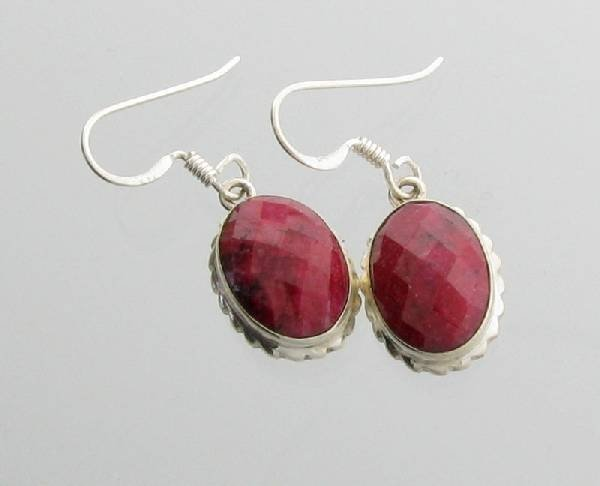 APP: 6.3k 12.00CT Ruby & Sterling Silver Earrings