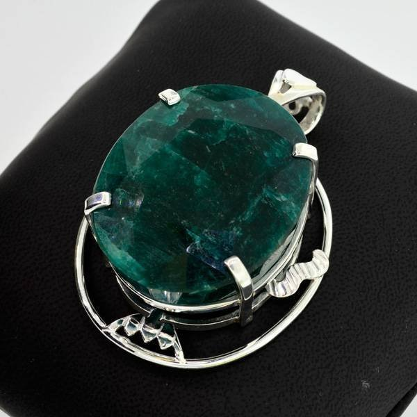 APP: 10.9k 193.60CT Emerald & Sterling Silver Pendant
