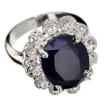 APP: 11k 6CTOval Cut Sapphire & Sterling Silver Ring