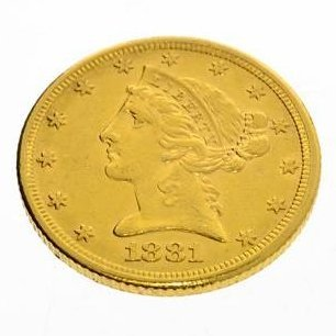 1881 U.S. $5 Liberty Head Gold Coin - Investment