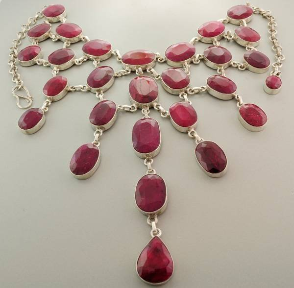 APP: 52.4k 372.17CT Ruby & Sterling Silver Necklace