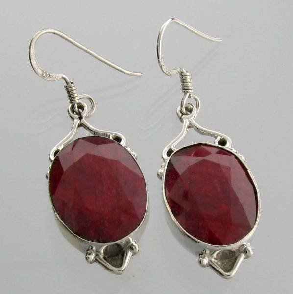 APP: 14.2k 27.34CT Ruby & Sterling Silver Earrings