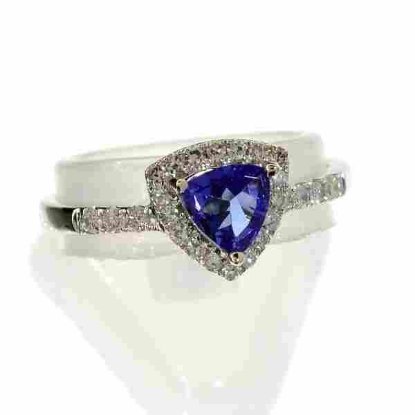 APP: 3k 14KT White Gold .48CT Tanzanite & Diamonds Ring