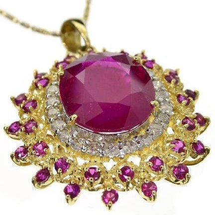 APP: 24k 14KT Yellow & White Gold Diamond Ruby Pendant