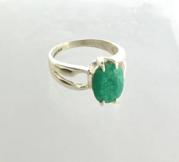 APP: 1k Sebastian 2CT Oval Cut Emerald & Silver Ring