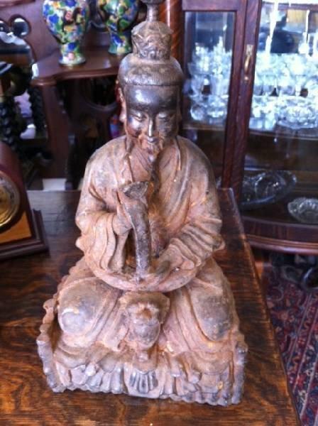 Asian Cast Iron Sitting Buddha Statue