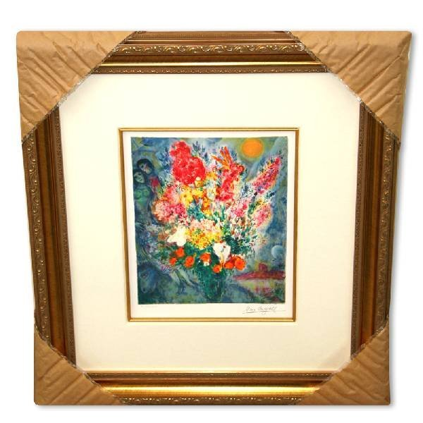 Chagall 'Original Bouquet' Museum Framed Giclee-Ltd Edn