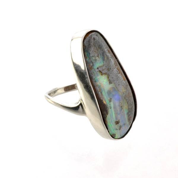 APP: 12.6k 8.31CT Boulder Opal & Sterling Silver Ring