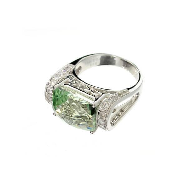 APP: 8k 14kt White Gold, 6CT Prasiolite & Diamond Ring