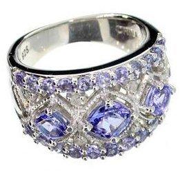 APP: 3k 1CT Tanzanite & Diamond Sterl Silver w/Ring