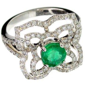 APP: 12k 14kt White Gold, Round Emerald & Diamond Ring