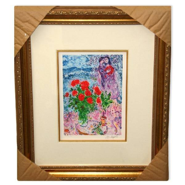 Chagall 'Red Bouquet & Lovers' Framed Giclee-Ltd Edn