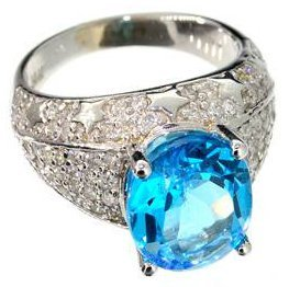 APP: 6k 14kt White Gold, 5CT Oval Topaz & Diamond Ring