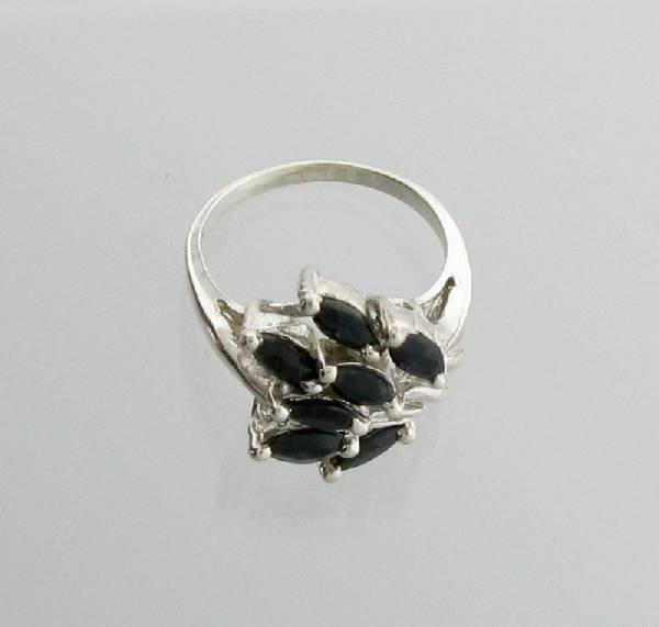 APP: 2k 2CTMarquise Cut Sapphire Sterling Silver Ring