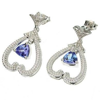 APP: 2k 0CT Tanzanite & Diamond Sterl Silver w/Earrings