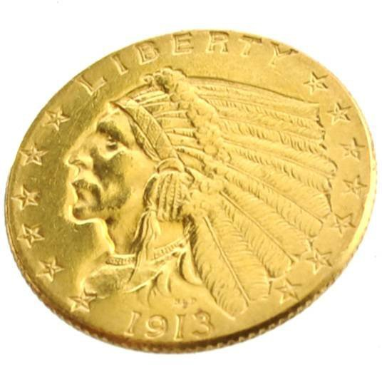 1913 $2.5 U.S. Indian Head Gold Coin - Investment