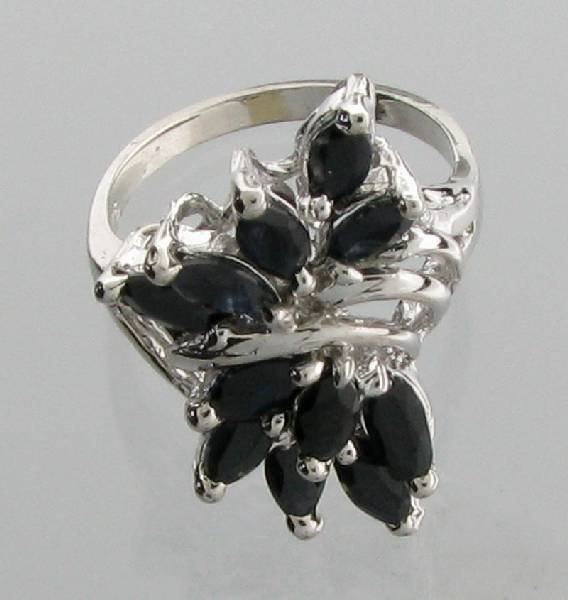 APP: 2k 3CTMarquise Cut Sapphire & Sterling Silver Ring