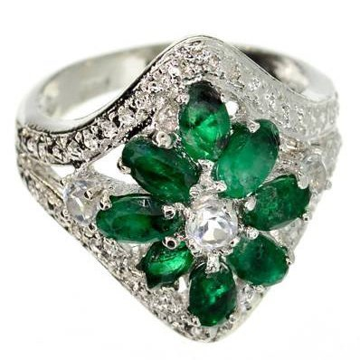 APP: 3k 1CT Oval Round Cut Emerald Topaz & Silver Ring