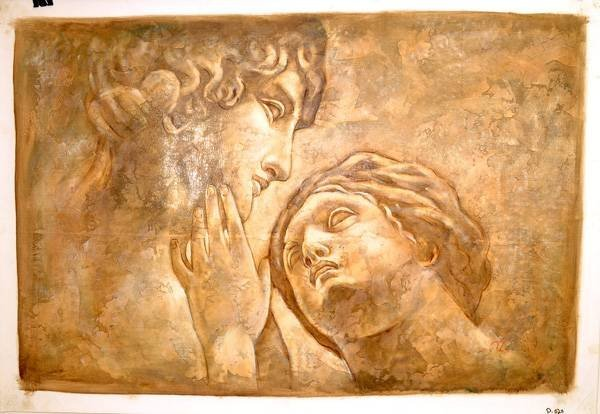 Oil Painting- Michael Angelo's Drawing Adam & Eve Print