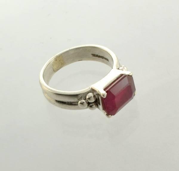 APP: 4k Sebastian 4CT Emerald Cut Ruby & Silver Ring
