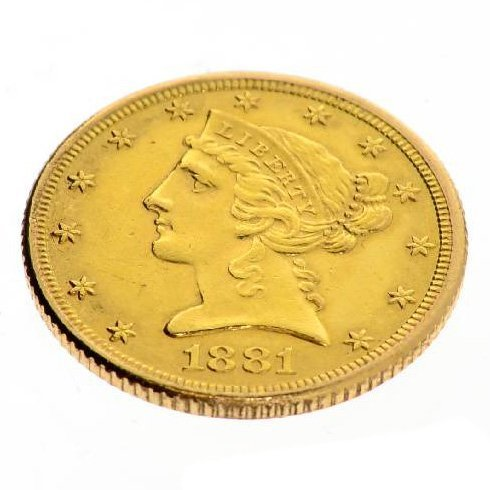 1881 $5.0 U.S. Liberty Head Gold Coin - Investment