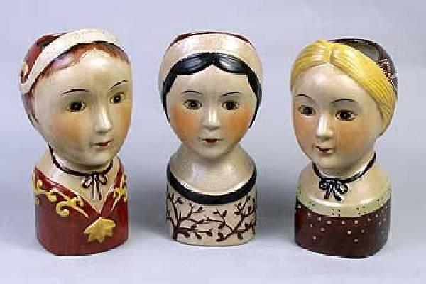 Doll Head Planters - Set/3
