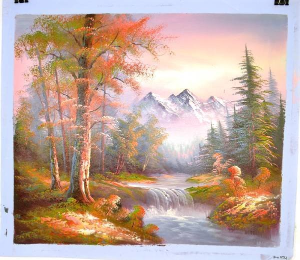 Oil Painting- Mountain Nature Landscape w/Waterfall