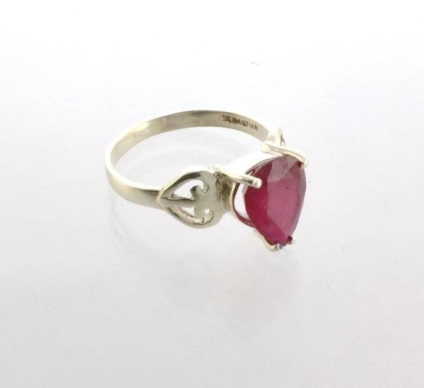 APP: 4k Sebastian 4CT Pear Cut Ruby & Sterl Silver Ring