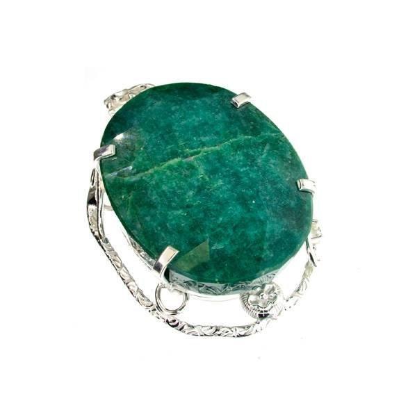 APP: 17k Sebastian 283CT Oval Emerald Silver Pendant