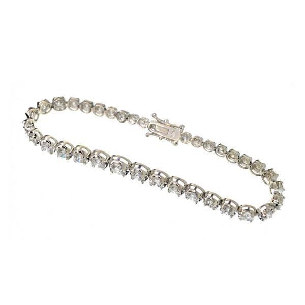 APP: 17k 14kt White Gold, 6CT Round Diamond Bracelet