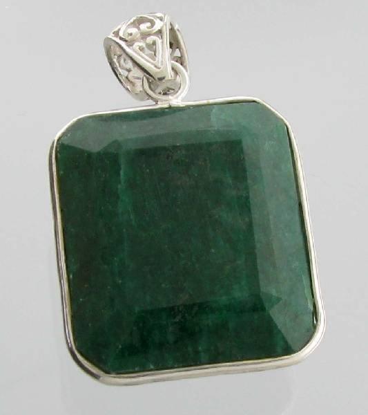 APP: 8k Sebastian 111CT Emerald & Silver Pendant