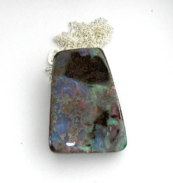 APP: 7k 41.00CT Boulder Opal & Sterling Silver Necklace