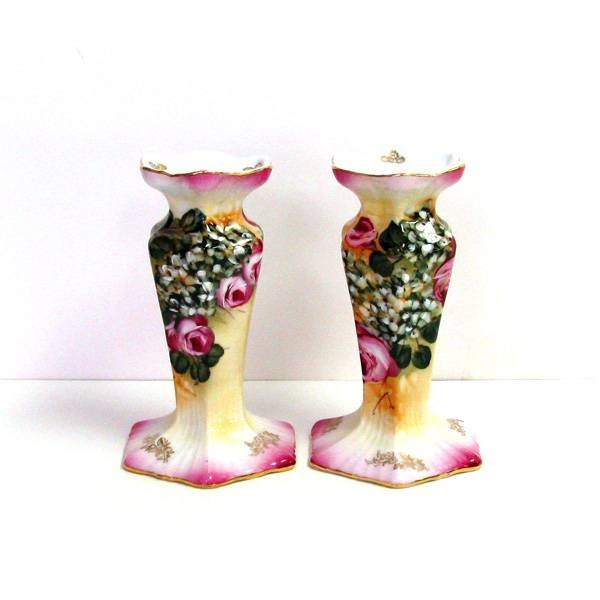 Floral Candle Stick Pair 6in.