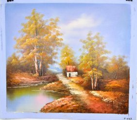 Oil Painting- Cottage By Lake- Nature Landscape