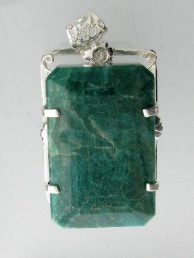 APP: 16k 380CT  Emerald Cut Emerald & Silver Pendant