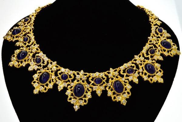 APP: 64k Gold, 36CT Ceylon Sapphire & Diamond Necklace