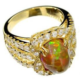 APP: 22k 14kt Gold, 3CT Fire Opal & 1CT Diamond Ring