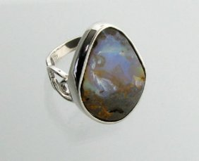 APP: 7.5k 5.43CT Boulder Opal & Sterling Silver Ring