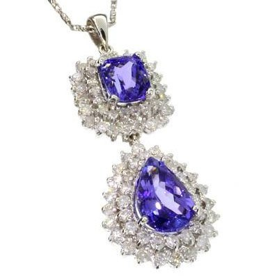 APP: 22k White Gold, Tanzanite & 2CT Diamond Necklace