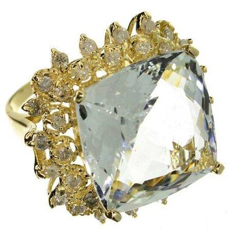 APP: 37k 14kt CT Aquamarine & Diamond Ring